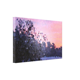 Abstract Stained Glass Winter Sunset Trees Mosaic Canvas Print