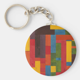 Abstract Stained Wood Basic Round Button Keychain