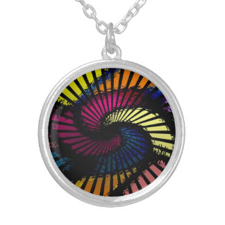 Abstract Stair Twist Silver Plated Necklace