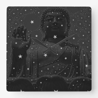 abstract star constellations Praying Buddha Zen Square Wallclock