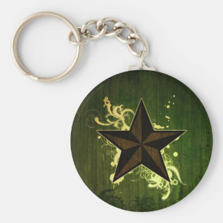 Abstract Star Basic Round Button Keychain