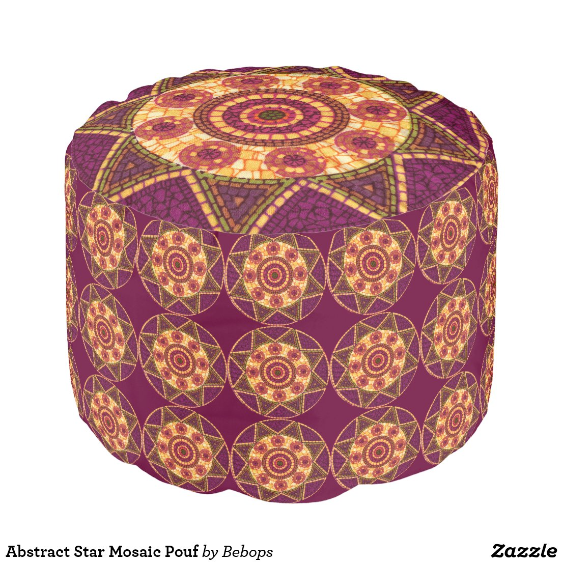 Abstract Star Mosaic Pouf