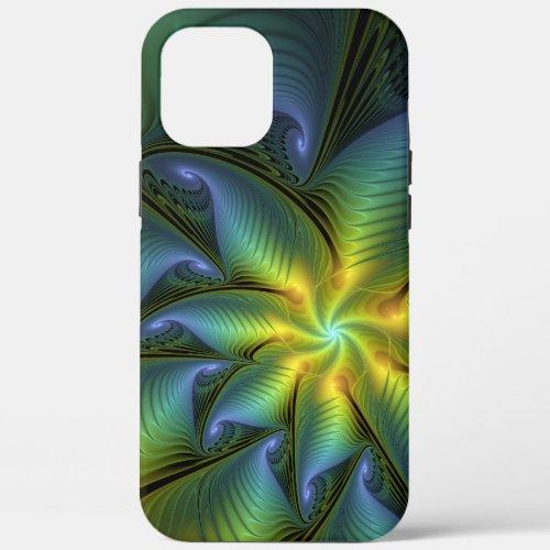 Abstract Star, Shiny Blue Green Golden Fractal Art Phone Case