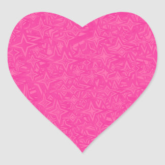 Abstract Stars in Hot Pink Heart Sticker