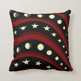 Abstract Stars, Stripes, and Moon Phases Pillow