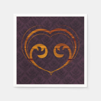 Abstract Steampunk Heart Paper Napkin