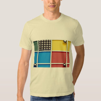 Abstract Steel balls and rods on multicolored acry T-shirts