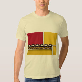 Abstract Steel balls and rods on red and yellow ac Tshirts