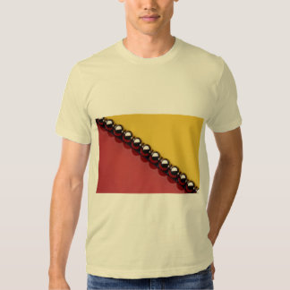 Abstract Steel balls on red and yellow acrylic T Shirts