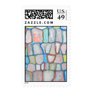 Abstract Stone Wall (colorful pattern painting) Postage Stamps