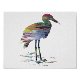 Abstract Stork silhouette Poster