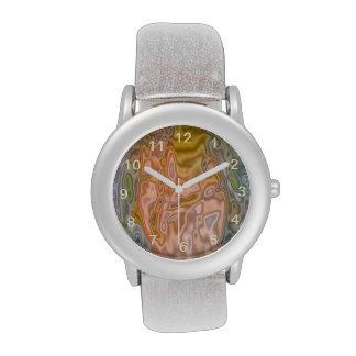 Abstract strange colored pattern wristwatch