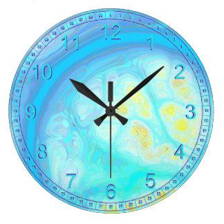 Abstract Streams of Joy – Cosmic Aqua & Lemon Large Clock