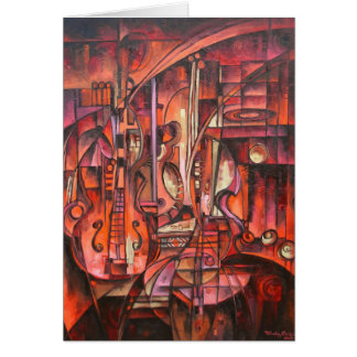 Abstract Stringed Instruments Notecards Card