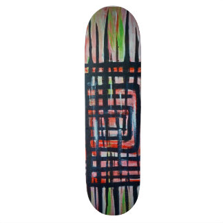 Abstract Stripes and squares pattern Skate Deck