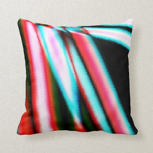 Abstract Stripes Blazing Glowing Red Black Teal Throw Pillow