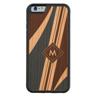 Abstract Stripes Monogram Wood iPhone Carved® Cherry iPhone 6 Bumper Case