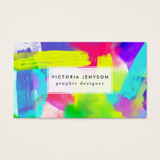 Abstract Stripes Neon Artistic Watercolor Pattern Business Card