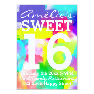 Abstract Stripes Neon Watercolor Pattern Sweet 16 Card