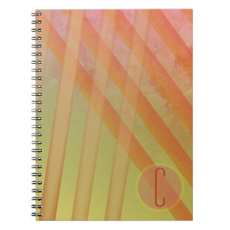 Abstract Stripes/Yellow & Warm Hues/monogram Notebook