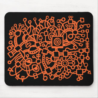 Abstract Structure - Autumn Orange on Black Mouse Pad