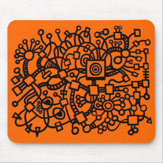 Abstract Structure - Black on Orange Mouse Pad