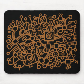 Abstract Structure - Brown on Black Mouse Pad