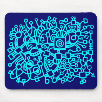 Abstract Structure - Cyan on Deep Navy Mouse Pad