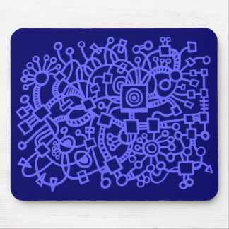 Abstract Structure - Electric Blue on Deep Navy Mouse Pad