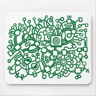 Abstract Structure - Forest Green on White Mouse Pad