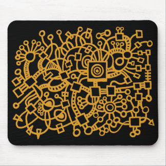 Abstract Structure - Gold on Black Mouse Pad