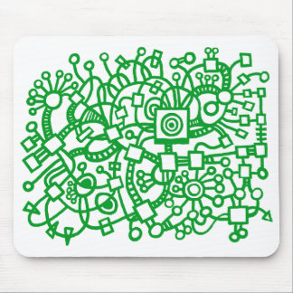 Abstract Structure - Grass Green on White Mouse Pad