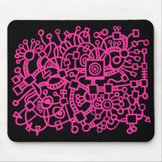 Abstract Structure - Hot Pink on Black Mouse Pad