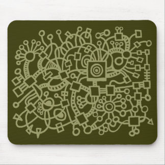 Abstract Structure - Khaki on Murky Green Mouse Pad