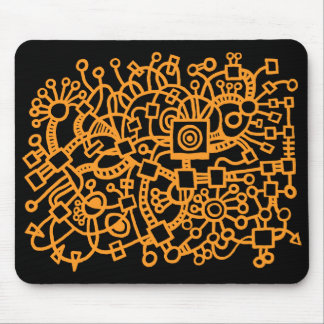 Abstract Structure - Light Orange on Black Mouse Pad
