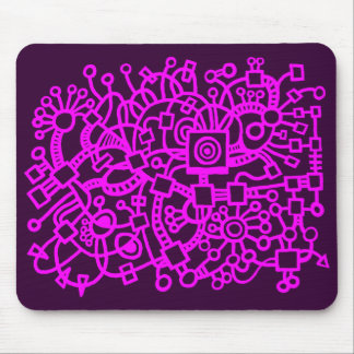 Abstract Structure - Magenta on Dark Purple Mouse Pad