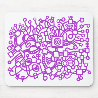Abstract Structure - Majestic Purple on White Mouse Pad