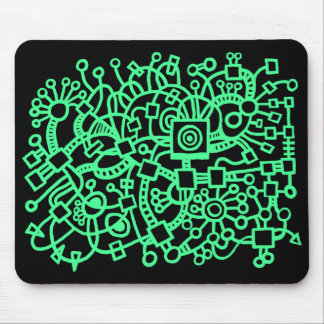 Abstract Structure - Mint Green on Black Mouse Pad