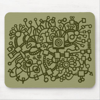 Abstract Structure - Murky Green on Khaki Mouse Pad