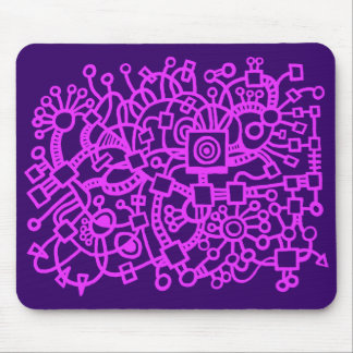 Abstract Structure - Neon Purple on Dk Purple Mouse Pad