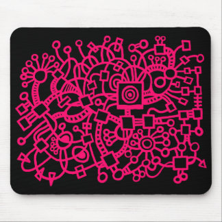 Abstract Structure - Neon Red on Black Mouse Pad