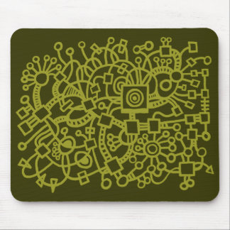 Abstract Structure - Olive on Murky Green Mouse Pad