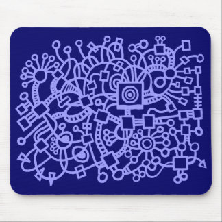 Abstract Structure - Pastel Blue on Deep Navy Mouse Pad