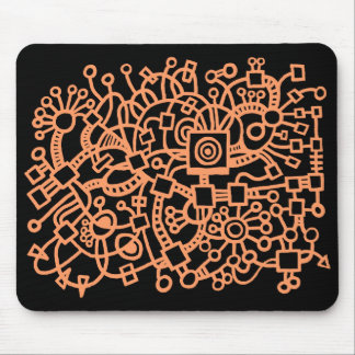 Abstract Structure - Peach on Black Mouse Pad