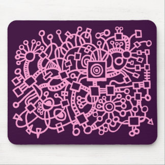 Abstract Structure - Pink on Dark Purple Mouse Pad
