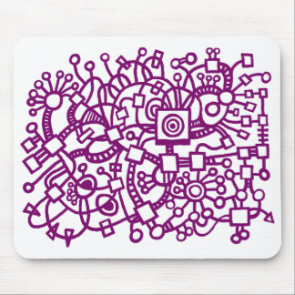 Abstract Structure - Plum on White Mouse Pad