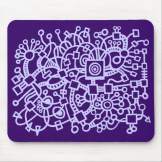 Abstract Structure - Powder Blue on Deep Purple Mouse Pad