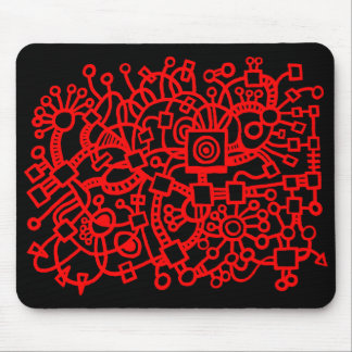 Abstract Structure - Red on Black Mouse Pad