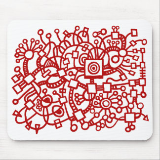 Abstract Structure - Ruby Red on White Mouse Pad