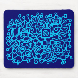 Abstract Structure - Sky Blue on Deep Navy Mouse Pad